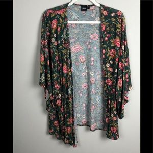 Asos Open Front Green Floral Cardigan